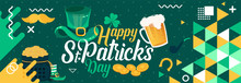Happy Saint Patrick's Day Banner With St. Patrick Icons Like Bear Glass, Cap, Gold Coins, Horseshoe, Mustache & Leaf Etc. St Patricks Green Theme Design With Modern Retro Abstract Irish Background.