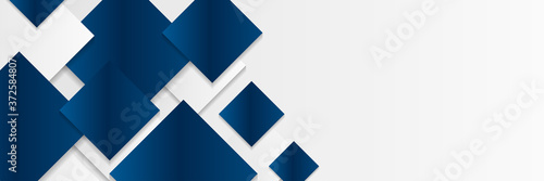 Valokuvatapetti Bright navy blue and white silver grey dynamic abstract vector background with diagonal lines