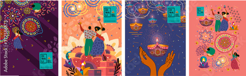 Fototapeta Happy Diwali. Indian festival of lights. Vector abstract flat illustration for the holiday, lights, hands,  Indian people, woman and other objects for background or poster.    obraz