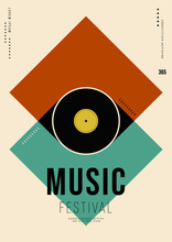 Music Poster Design Template Background With Vinyl Record Vintage Retro Style