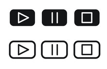 Media Player Buttons Set | Play Button | Pause Button | Stop Button | Audio Visual Buttons