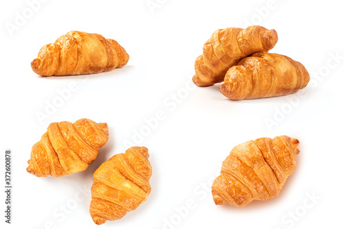 Fotografie, Obraz Set of croissant isolated on white background