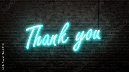 Fototapeta Thank you  neon sign emblem in neon style on brick wall background