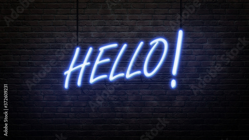 Photographie hello neon sign emblem in neon style on brick wall background