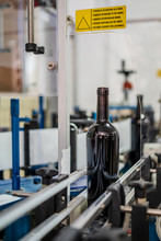 Bottle Of Wine Without Label On Conveyor Line In Modern Equipped Manufacture Factory