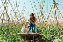 Cheerful Little Child Having Fun While Sitting In Hand Barrow Near Positive Female Parent Surrounded By Small Tomato Bushes And Wooden Sticks In Countryside Under Blue Sky