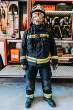 Serious Firefighter In Protect...