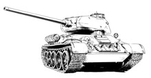 Heavy Tank Painted In Ink By Hand On A White Background