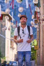 Adult Hipster Male Traveler Wi...