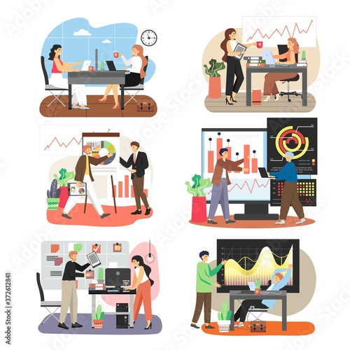 Fototapeta Office scene set with business people working together, training, taking coffee break, flat vector isolated illustration obraz na płótnie