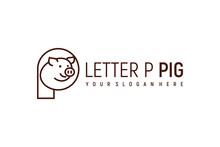 Letter P Pig Logo Design Vector