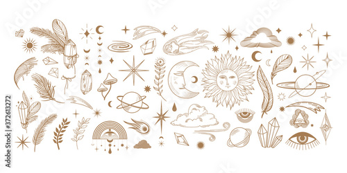 Fotografie, Obraz big hand drawn set of celestial bodies and mystic magical elements in vintage bo