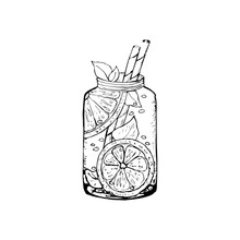 Drinks. A Hand-drawn Cocktail, A Jug Of Lemonade, Fruit Juice, And A Drink. Sketch Of An Illustration