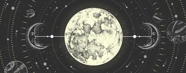Moderna čarobna čarobnjačka karta s astrološkim mjesečevim znakom s ljudskim licem. Realistična crtež punog mjeseca vektorska ilustracija