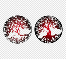Tree Of Life With Roots Red Gr...