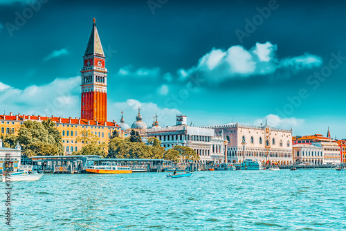 Views of the most beautiful canal of Venice - Grand Canal, and Campanile of St Wallpaper Mural