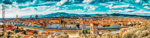 Beautiful landscape above, panorama on historical view of the Florence from  Piazzale Michelangelo point Fototapet
