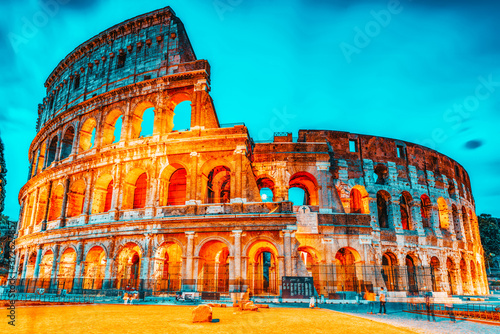 Stampa su Tela Beautiful landscape of the Colosseum in Rome- one of wonders of the world  in the evening time