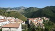 Panoramic view of the rural town of Aieta, in the region of Calabria, Italy.