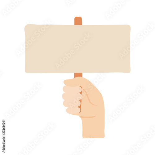 hand human protesting with banner flat style icon Wallpaper Mural
