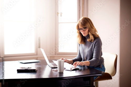 Fotografie, Obraz Casual accountant businesswoman working at desk at home