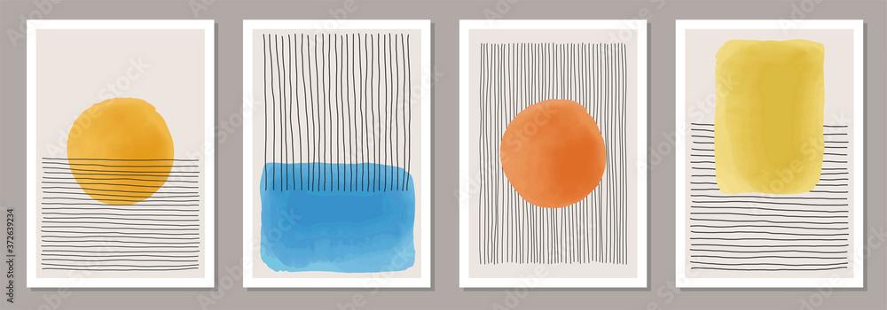 Fototapeta Set of minimalist 20s geometric design poster, primitive shapes