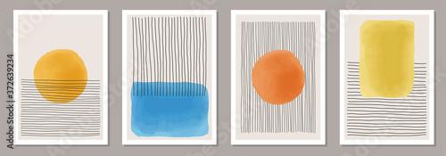 Fototapeta Set of minimalist 20s geometric design poster, primitive shapes obraz