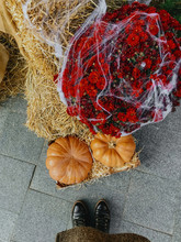 Top View Of Woman Feet And Pumpkin And Autumn Flowers In Cobweb On Hay Bale, Stylish Rustic Decor Of City Street. Photo Of  Festive Halloween Street Decor