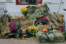 Halloween Street Decor. Pumpkins And Autumn Flowers In Cobweb On Hay Bale, Rustic Festive Decoration Of European City Street. Happy Thanksgiving And Halloween
