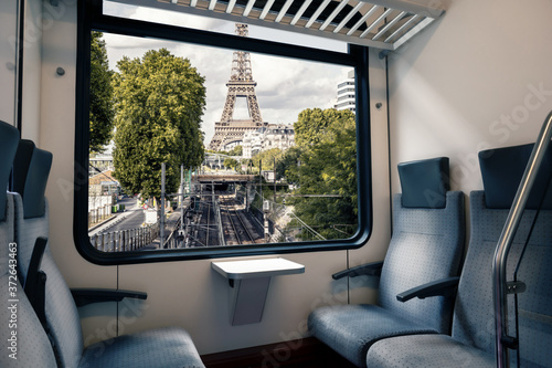 Paris subway seen from the window of a carriage Canvas Print