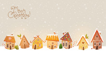 Christmas Greeting Card With Cute Gingerbread Houses