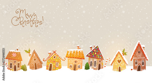 Obraz Christmas greeting card with cute gingerbread houses - fototapety do salonu