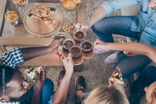 Fototapeta Top above high angle cropped photo of positive best fellows man sit couch have h