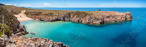 Fotografering Sardegna, panorama da Cala Domestica, Buggerru, Italia