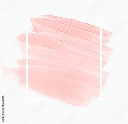 Fotografie, Obraz Logo brush stroke painted watercolor background vector over simple frame