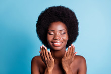 Closeup Headshot Photo Of Dark Skin Big Volume Hairstyle Lovely Cute Woman Hands Face Water Procedures Eyes Closed Healthy Well-being Concept Naked Isolated Blue Color Background