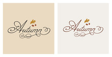 Autumn, Autumnal Collection, Vector Set Of Abstract Backgrounds, Autumn Sale, Lettering