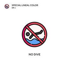 No Dive Special Lineal Color Vector Icon. Illustration Symbol Design Template For Web Mobile UI Element.