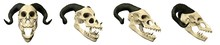 3D Halloween Illustration - Horned Terrifying Creature With Bared Teeth Skull Set - Four Different Isolated Props Designs On White Background