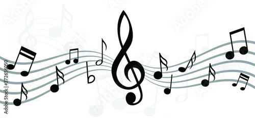 Musical notes stave line pattern symbols icon for staff and music note theme Tra Slika na platnu