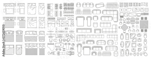 Obraz Set of linear icons. Interior top view. Furniture and elements for living room, bedroom, bathroom. Floor plan (view from above). Furniture store. - fototapety do salonu