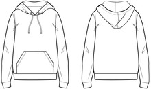 White Hoodie With Pocket Technical Sketch