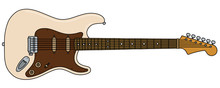 The Vectorized Hand Drawing Of A Retro Cream Electric Guitar
