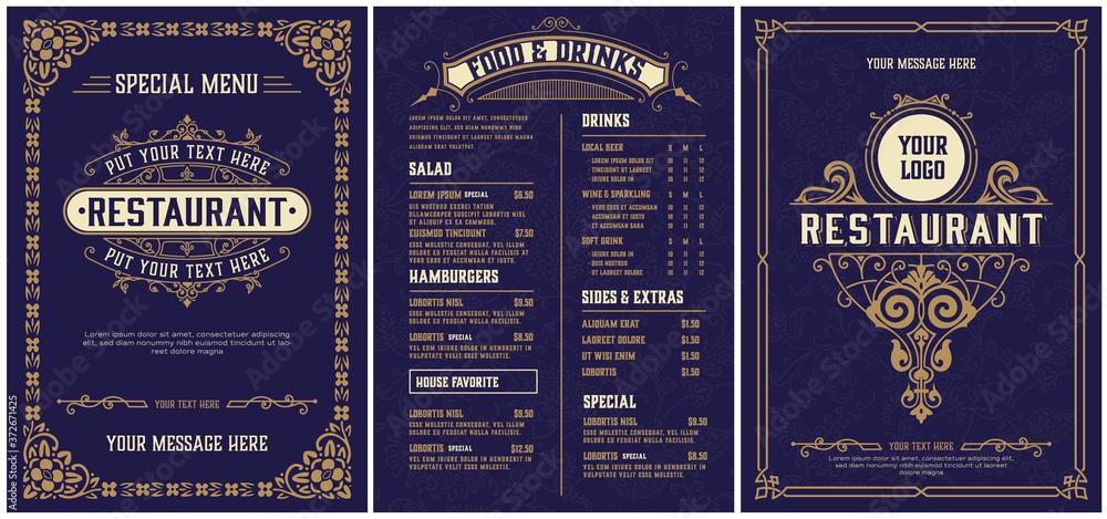 Fototapeta Restaurant menu template. Vintage style. Vector layered
