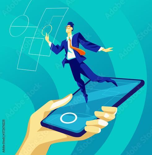 Photo Un manager interagisce con la realtà virtuale su uno smartphone