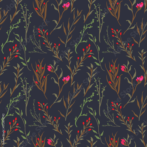 Cuadros en Lienzo Vintage and trendy Seamless Pattern flowers and botanical elements