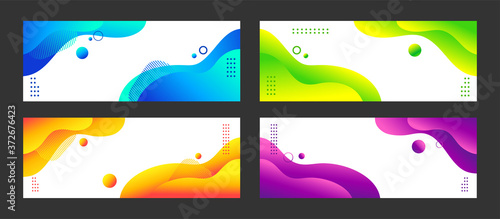 Abstract liquid vector backgrounds. Set of colorful gradient minimal banners for social media, web sites