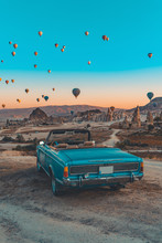 Retro Car On Cappadocia And Hot Air Baloons
