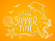 Vector Summer Illustration With Dolphin, Starfish, Shell, Sea Anchor, Text And Wave On Gradient Yellow Background.