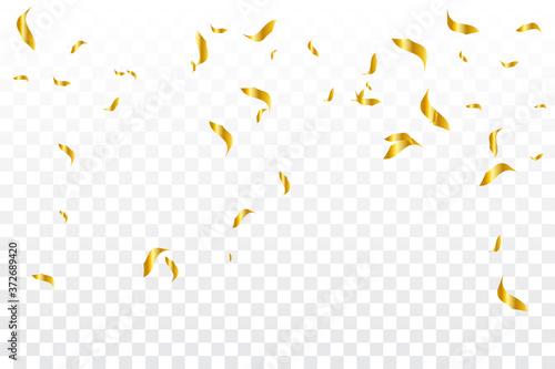 Fototapeta Many Falling Golden Tiny Confetti On Transparent Background. Vector obraz na płótnie